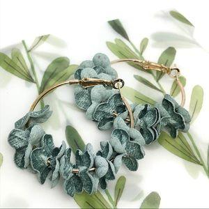 Teal Flowery Hoop Metal Earrings